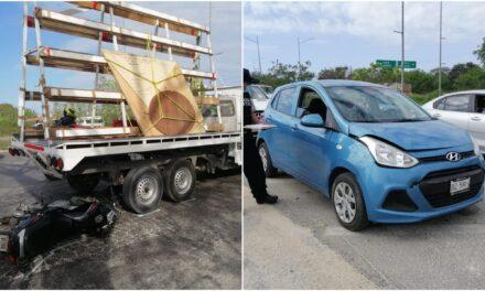Choque múltiple de ocho vehículos en periférico oriente de Mérida