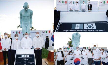 """Escultura """"Greetingman"""", gesto de respeto y hermandad entre Mérida y Corea"""