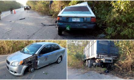 Mortal invasión de carril: colisiona con dos vehículos en la Cobá-Chemax