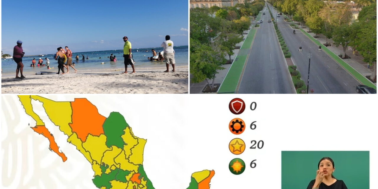 En semáforo federal: Quintana Roo baja al naranja, Yucatán en amarillo