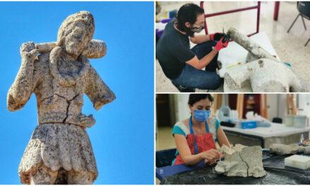 """En restauración escultura de piedra """"El Monifato"""" de Sisal"""