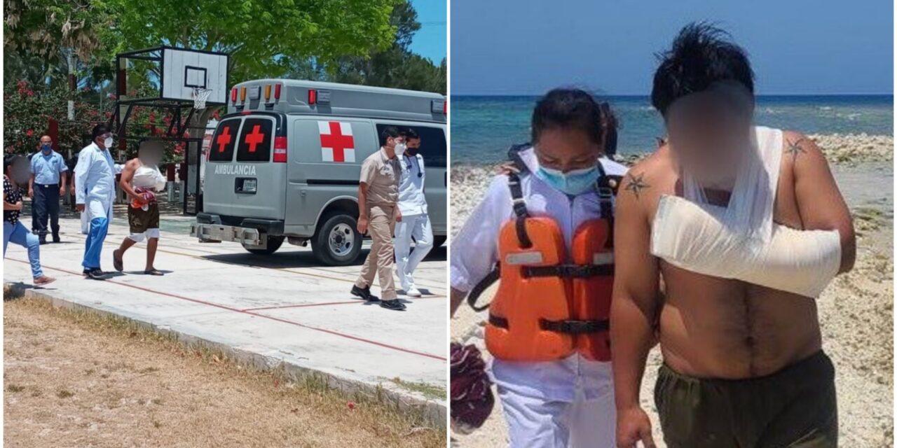 Pescador lesionado a 246 kilómetros al noreste de puerto Progreso