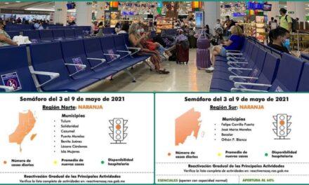 Retrocede Quintana Roo a semáforo naranja; saldo de Semana Santa