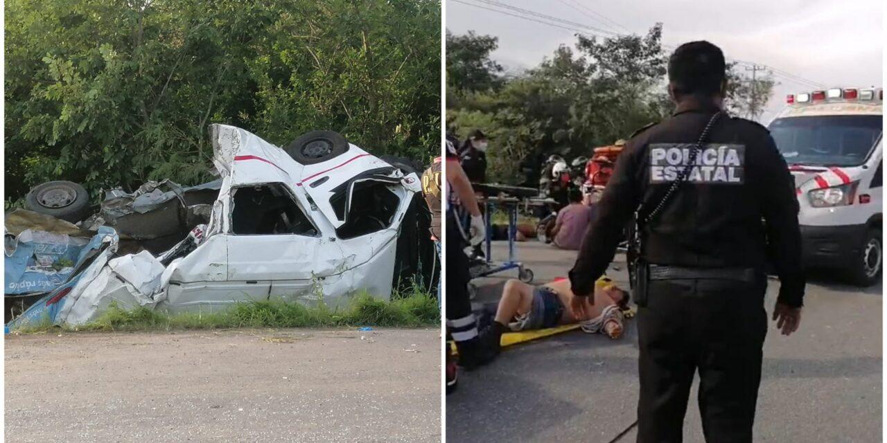 Tráiler aplasta colectivo de ruta Dzununcán y mata a varios pasajeros