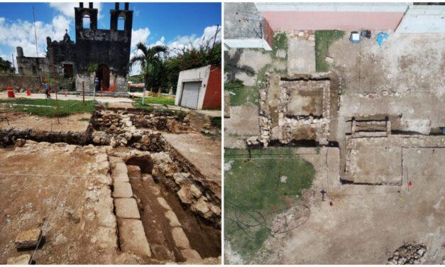 Emergen vestigios arqueológicos en plaza central de Pisté, aledaño a Chichén Itzá