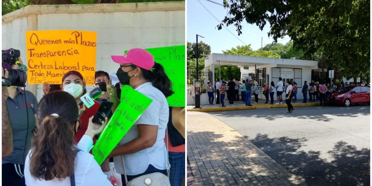 Protestan en Segey por transparencia en asignación de plazas docentes