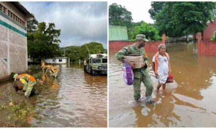 Comisarías inundadas en Tekax reciben apoyo de Ejército Mexicano