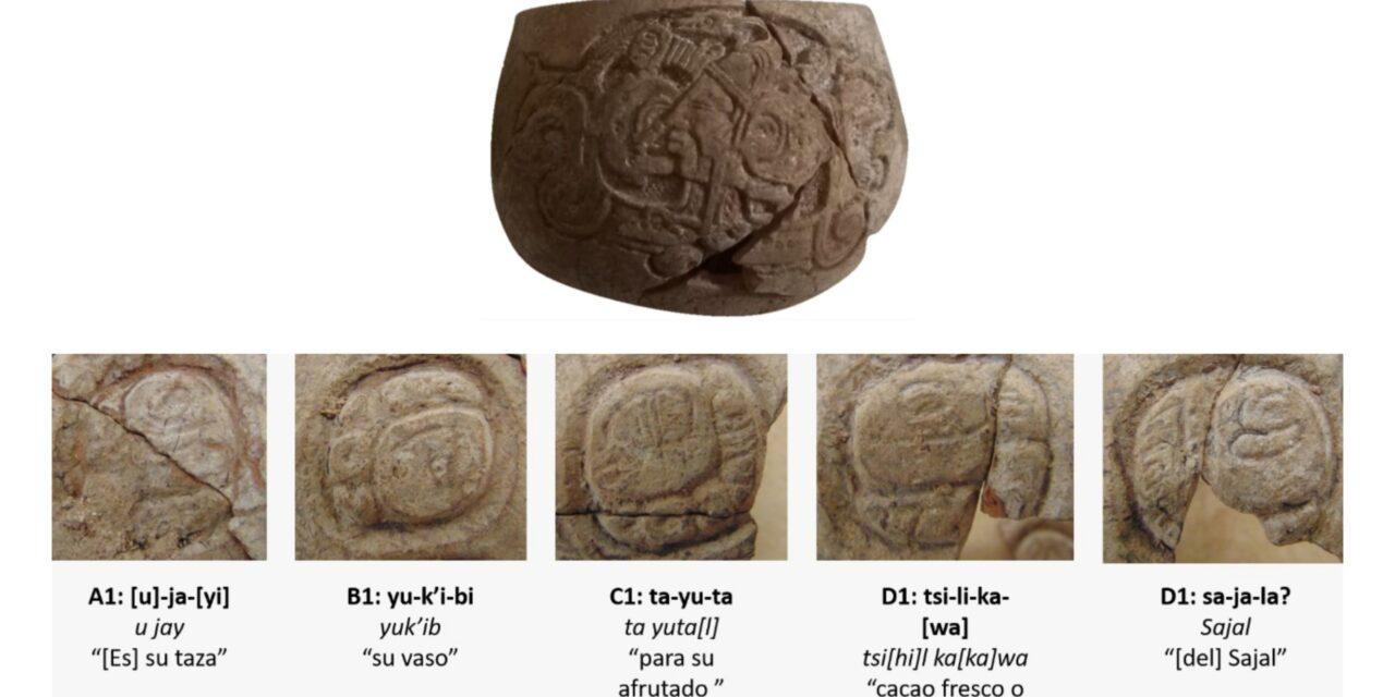 Milenaria vasija con escritura jeroglífica en obras de Tren Maya