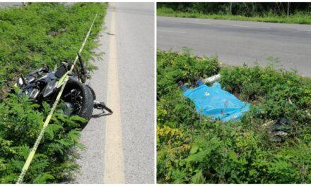 Motociclista muerto en la Mérida-Cancún; por definir si fue accidente o provocado
