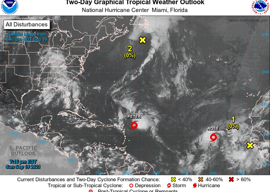 Nacen ciclones 'gemelos' en el Atlántico: 'Peter' y 'Rose' y ¡otra vez se agotan los nombres!