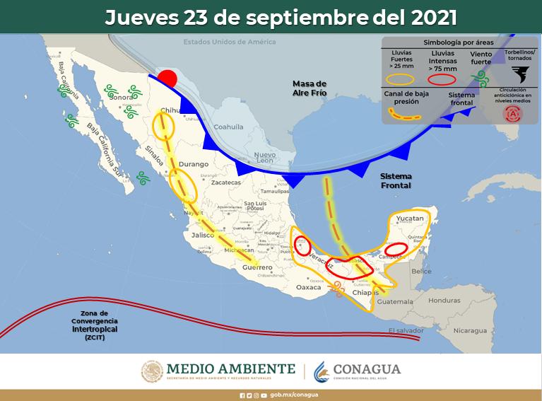 Llega este martes primer frente frío: trae lluvias a Yucatán